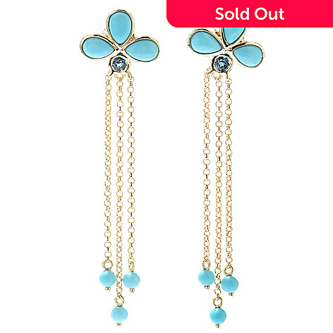 130-505 - Michelle Albala Sleeping Beauty Turquoise & London Blue Topaz 2.25'' Dangle Earrings