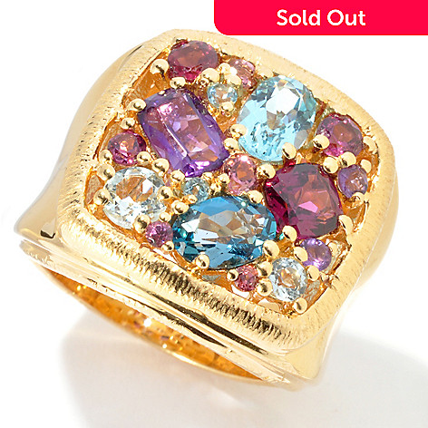 130-507 - Michelle Albala 2.40ctw Multi Gemstone Square Top Wide Band Ring