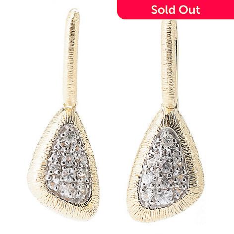 130-513 - Michelle Albala White Sapphire Brushed Triangular 1.25'' Drop Earrings