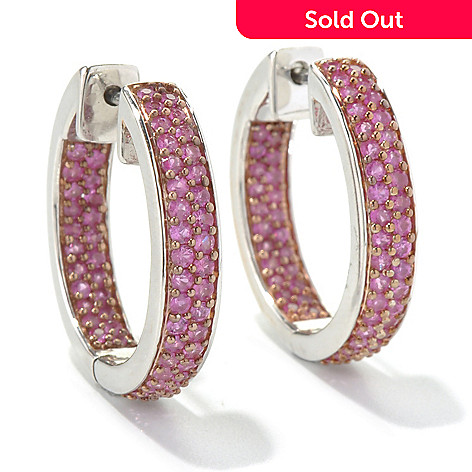 130-518 - Gem Treasures® Sterling Silver 2.06ctw Sapphire Inside-Out Hoop Earrings