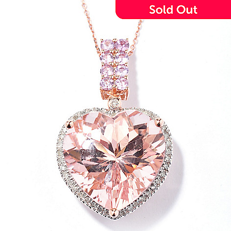 130-519 - Gem Treasures® 14K Rose Gold 10.48ctw Morganite Sapphire & Diamond Pendant w/ Chain