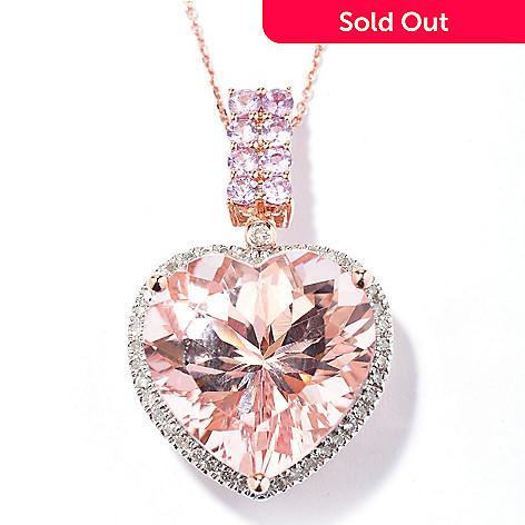 130-519 - Gem Treasures 14K Rose Gold 10.48ctw Morganite Sapphire & Diamond Pendant w/ Chain