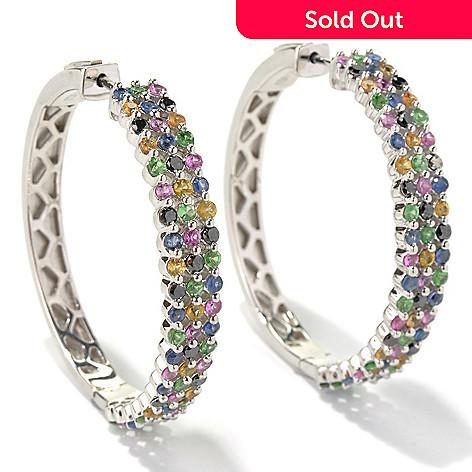 130-521 - Gem Treasures® Sterling Silver 1.75'' 5.02ctw Multi Gemstone Hoop Earrings