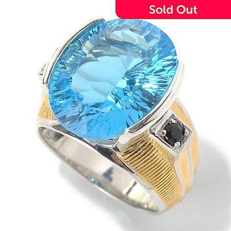 130-522 - Men's en Vogue 17.84ctw Concave Cut Ceylon Blue Topaz & Black Spinel Ring