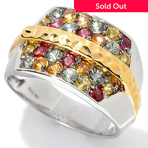 130-523 - Men's en Vogue II 2.08ctw Multi Color Sapphire Hammered Ring