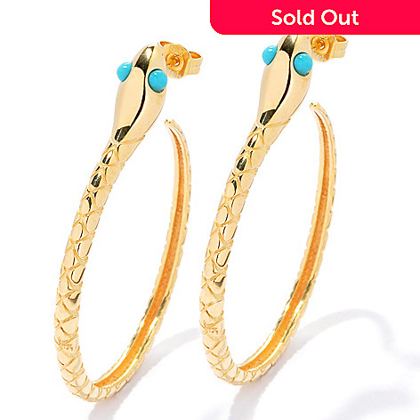 130-531 - Portofino Gold Embraced™ 2'' Turquoise Textured Snake Hoop Earrings