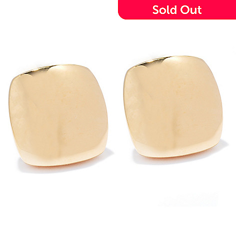 130-539 - Portofino Gold Embraced™ Cube Button Earrings w/ Omega Backs