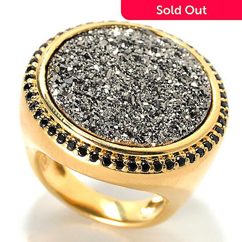 130-545 - Portofino 18K Gold Embraced™ 20mm Round Drusy & Black Spinel Ring