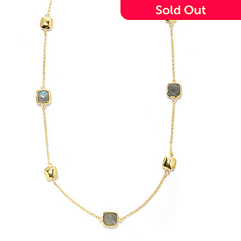 130-549 - Portofino 18K Gold Embraced™ 28'' Labradorite & Polished Cube Station Necklace