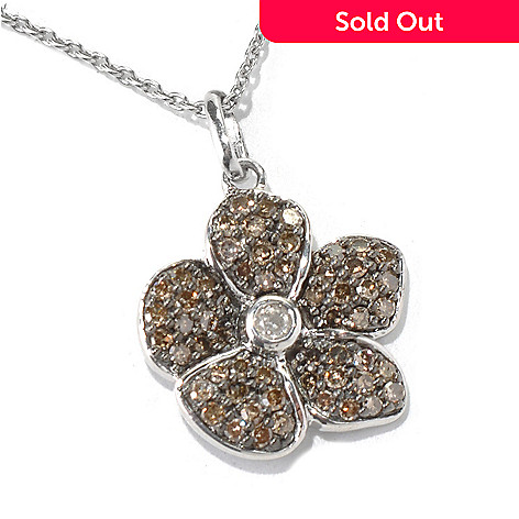 130-550 - Diamond Treasures Sterling Silver 0.60ctw Diamond Flower Pendant w/ 18'' Chain