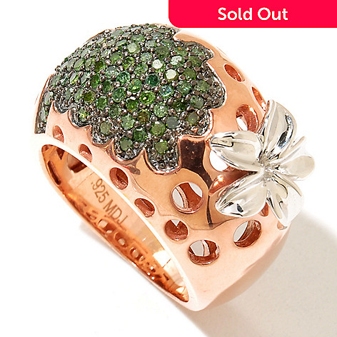 130-553 - Southport Diamonds Sterling Silver & 14K Vermeil 0.75ctw Diamond Dome Flower Ring