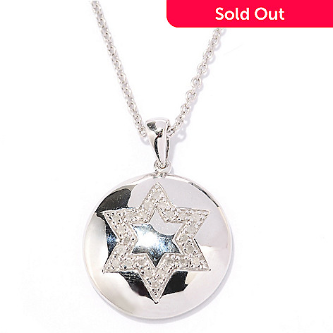 130-574 - Diamond Treasures Sterling Silver 0.15ctw Diamond Star of David Pendant w/ Chain