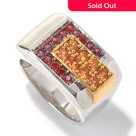 130-577 - Men's en Vogue 1.32ctw Shades of Orange Sapphire Ring