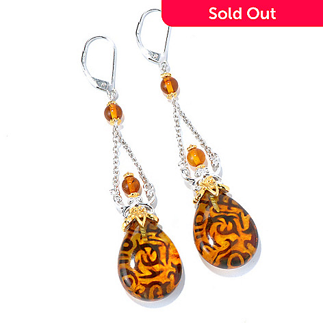 130-581 - Gems en Vogue 20 x 15mm Carved Amber Intaglio Pear Shaped Drop Earrings