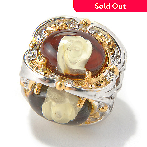 130-585 - Gems en Vogue Carved Amber Rose Intaglio Slide-on Charm