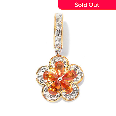 130-586 - Gems en Vogue II 1.30ctw Colored Sapphire Flower Drop Charm