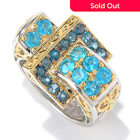 130-588 - Gems en Vogue 1.56ctw London Blue Topaz & Neon Apatite Buckle Ring