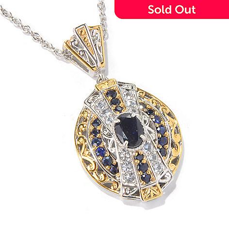130-590 - Gems en Vogue 2.78ctw Blue & Silver Sapphire Pendant w/ 18.25'' Chain