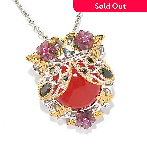 130-591 - Gems en Vogue 14mm Red Quartz & Multi Gemstone Ladybug Pendant/ Pin w/ 18'' Chain
