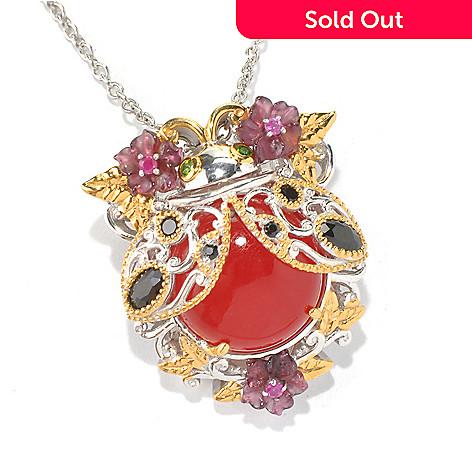 130-591 - Gems en Vogue 14mm Red Quartz & Multi Gemstone Ladybug Pendant/ Pin w/ 18'' Chain