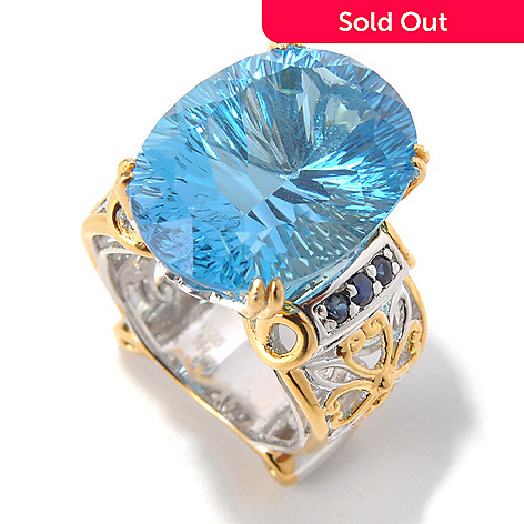 130-598 - Gems en Vogue 19.43ctw Millennium Cut Ceylon Blue Topaz & Sapphire Ring