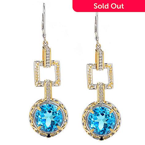 130-599 - Gems en Vogue 9.94ctw Ceylon Blue Topaz & Sapphire Link Drop Earrings