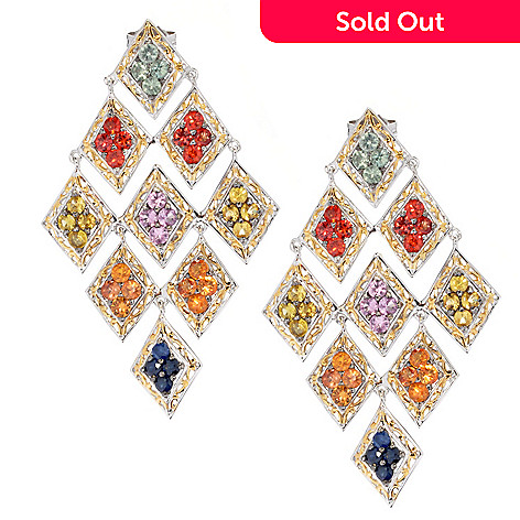 130-601 - Gems en Vogue 5.76ctw Multi Gem Diamond Shaped 2'' Chandelier Earrings