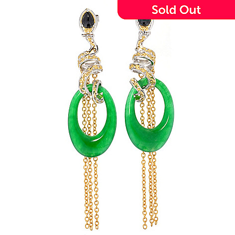 130-602 - Gems en Vogue Green Jade, Spinel & Chrome Diopside 3'' Tassel Drop Earrings
