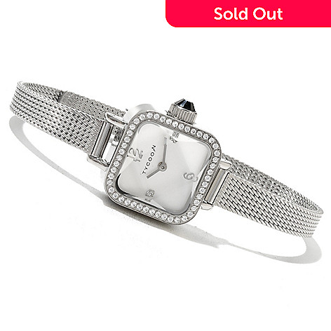 130-603 - TYCOON Women's 1.00 DEW Simulated Diamond Quartz Stainless Steel Bracelet Watch