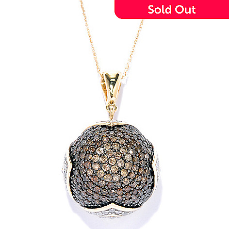 130-604 - Diamond Treasures® 14K Gold 2.20ctw Mocha & White Diamond Dome Pendant w/ Chain