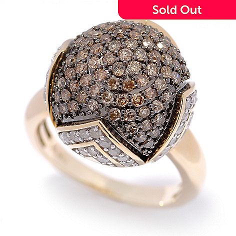 130-606 - Diamond Treasures 14K Gold 1.70ctw Mocha & White Diamond Dome Ring