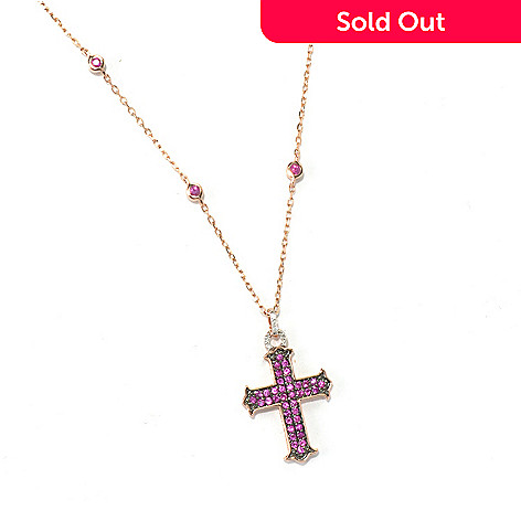 "130-607 - Beverly Hills Elegance 14K Rose Gold Pink Sapphire & Diamond Cross Pendant w/ 18"" Chain"