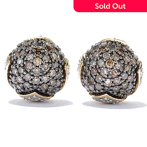130-608 - Diamond Treasures 14K Gold 1.50ctw Mocha & White Diamond Dome Earrings