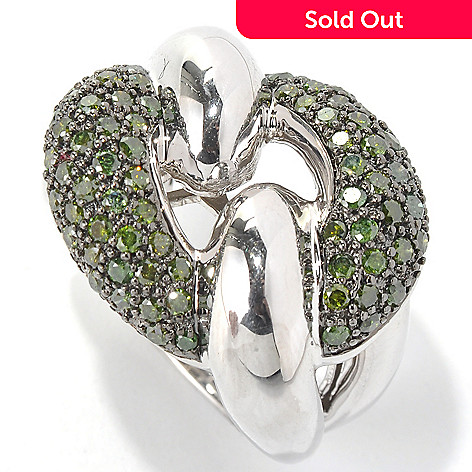 130-611 - Diamond Treasures® Sterling Silver 1.40ctw Green Diamond Pave Interlink Ring