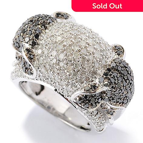 130-614 - Diamond Treasures Sterling Silver 2.39ctw Black & White Diamond Elephant Ring