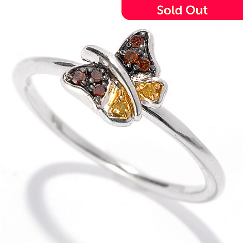 130-616 - Diamond Treasures® Sterling Silver Fancy Colored Diamond Nature-Inspired Ring