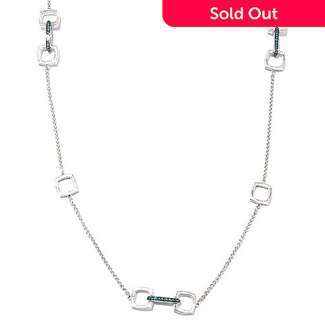 130-618 - Diamond Treasures® Sterling Silver 36'' 1.43ctw Fancy Color Diamond Station Necklace