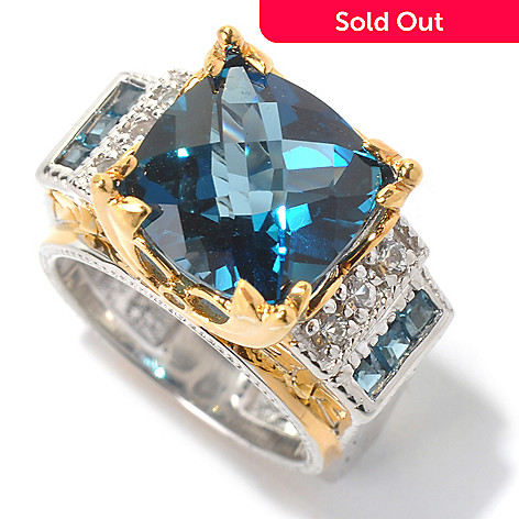 130-621 - Gems en Vogue 6.91ctw London Blue Topaz & White Sapphire Ring