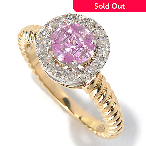 130-623 - Beverly Hills Elegance® 14K Two-tone Gold Pink Sapphire & Diamond Halo Ring