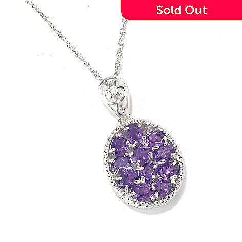 130-626 - Gem Insider™ Sterling Silver 1.39ctw Amethyst Oval Rope Pendant w/ 18'' Chain