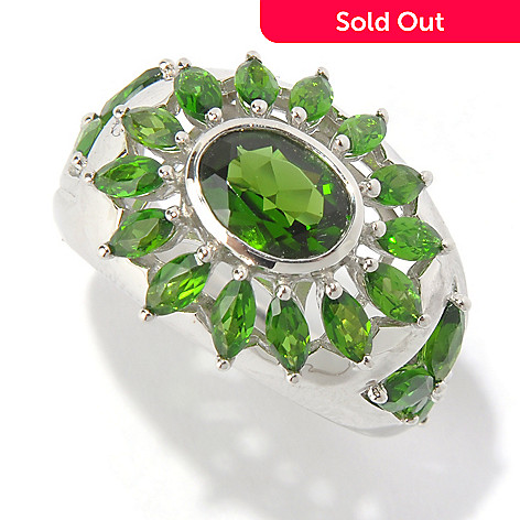 130-627 - Gem Insider Sterling Silver 3.22ctw Chrome Diopside Open Flower Ring