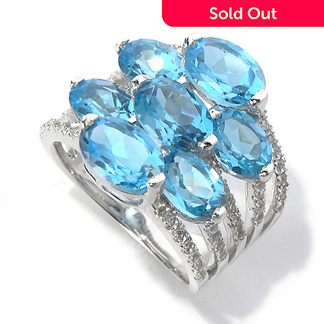 130-629 - Gem Insider™ Sterling Silver 8.30ctw Swiss Blue & White Topaz Split Ring