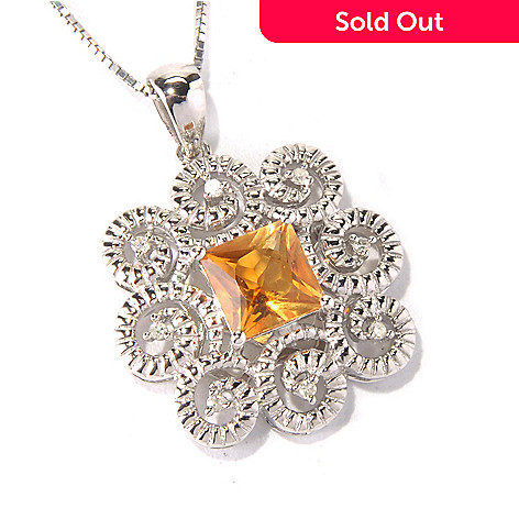 130-634 - Gem Insider™ Sterling Silver Citrine & Diamond Swirl Pendant w/ 18'' Chain