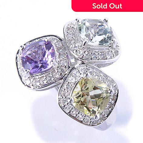 130-637 - Gem Insider® Sterling Silver 3.68ctw Multi Gem Three-Stone Halo Ring
