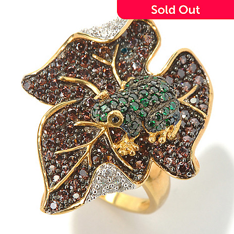 130-640 - Neda Behnam Gold Embraced™ 2.94 DEW Simulated Diamond Frog & Leaf Ring