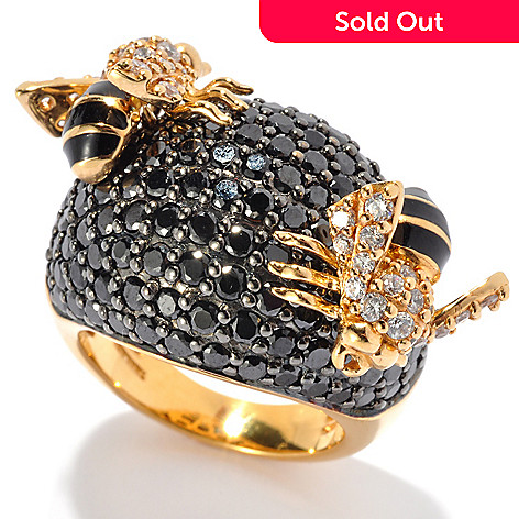 130-641 - Neda Behnam Gold Embraced™ 9.69 DEW Black Simulated Diamond Bumble Bee Ring