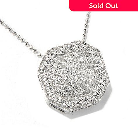 130-643 - Beverly Hills Elegance® 14K White Gold 1.00ctw Diamond Octagonal Pendant w/ 18'' Chain