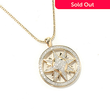 130-644 - Beverly Hills Elegance® 14K Gold 0.75ctw Diamond Sun Pendant w/ 18'' Chain