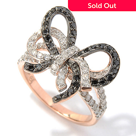 130-647 - Beverly Hills Elegance® 14K Rose Gold 1.00ctw Black & White Diamond Bow Ring