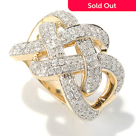 130-649 - Beverly Hills Elegance® 14K Gold 1.00ctw Diamond Weave Design Ring